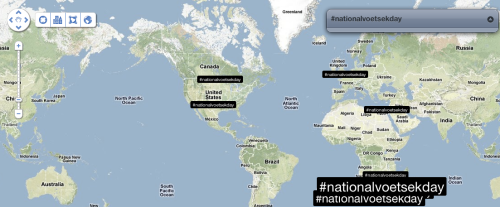 #NationalVoetsekDay tweeted outside ZA as well
