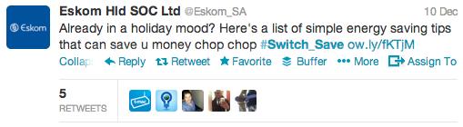 "<img src=""Eskom_Switch_Save_Tweet_2012.png"" alt=""Eskom #Switch_Save Tweet 2012"">"