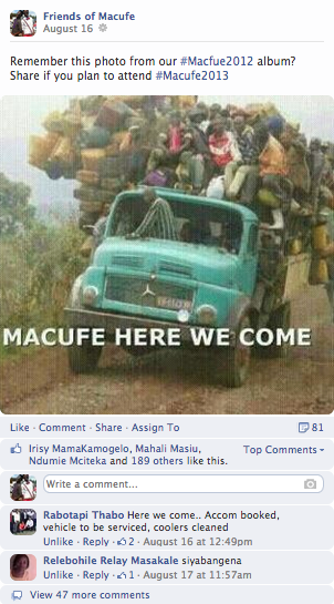 "<img src=http://""Facebook_Page_Friends_of_Macufe_Post_2013.png""?w=812 alt=""Facebook page - Friends of Macufe Post 2013"">"