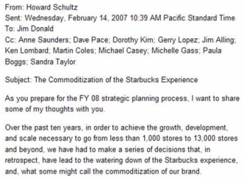 Internal Email: Commoditization of Starbucks Experience