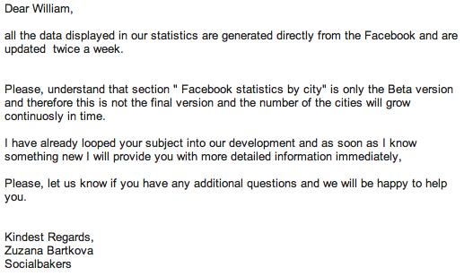 SocialBakers Email Response