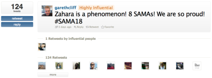 Most influential SAMA18 tweet