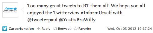 """<img src=""""career_junction_tweet_3_Oct_12_InformUrself_Twitterview.png"""" alt=""""CareerJunction Tweet - 3_Oct_12 InformUrself Twitterview """">"""