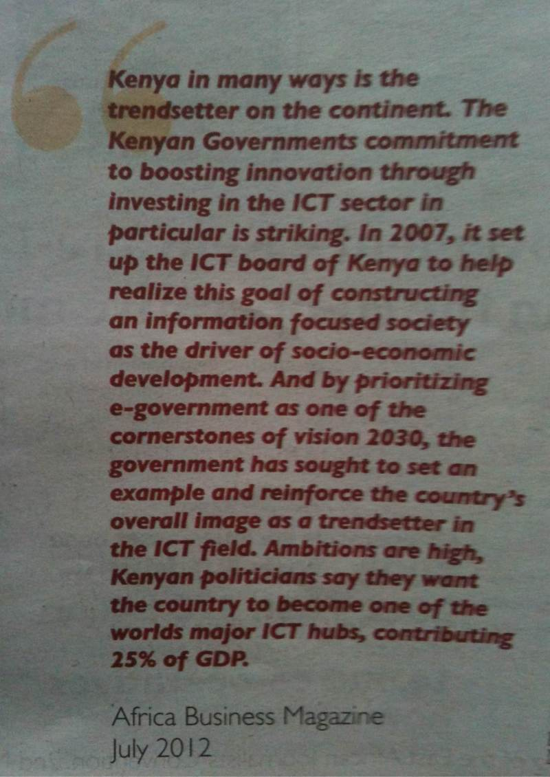Quote from African Business Magazine - July 2012
