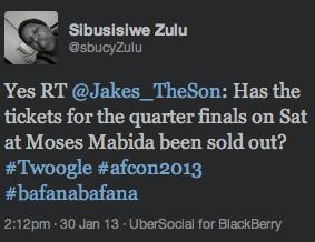 "<img src=""Bafana_Bafana_Quarterfinal_Tickets_Sold_Out_Afcon_2013.png"" alt=""Bafana Bafana AFCON2013 Quarterfinal Tickets Sold Out"">"