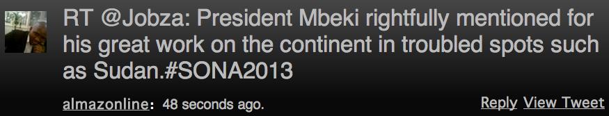 "<img src=""SONA_2013_Zuma_Commends_Mbeki_on_Sudan.png"" alt=""SONA 2013 Zuma Commends Mbeki on Sudan"">"