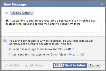 how to send the imsge from my inbox to facebook