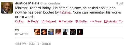 Justice Malala Tweet - President Zuma 2013 Cabinet Reshuffle