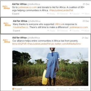 Aid for Africa tweets