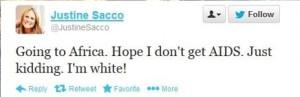A screenshot of Justine Sacco's tweet.