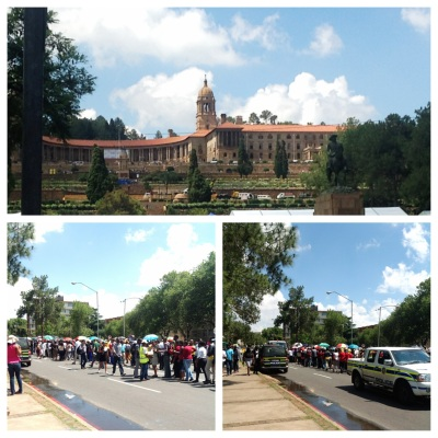 Source: Pretoria - Union building, people gather to view Mandela's body lying in State.