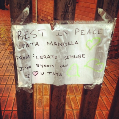 Source: Outside Mandela's house in Soweto, Vilakazi street.